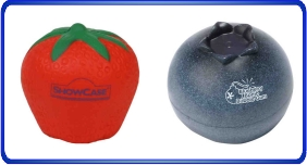 Balle anti stress personnalisé, balles anti stress en formes de fruit, article promotionnel économique