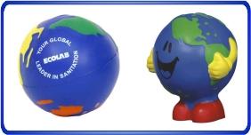 Balle anti stress personnalisé, balles anti stress en formes de globes terrestre, article promotionnel économique